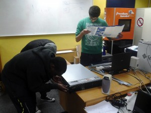 students assembling compute cluster